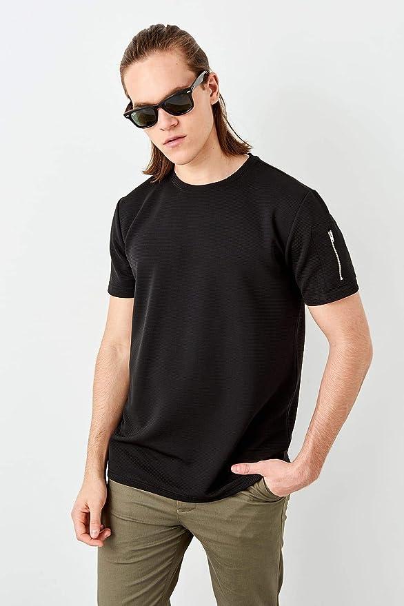 LFNANYI Masculina Manga Corta cómoda algodón Negro Mango Hombre Cremallera Camiseta: Amazon.es: Deportes y aire libre