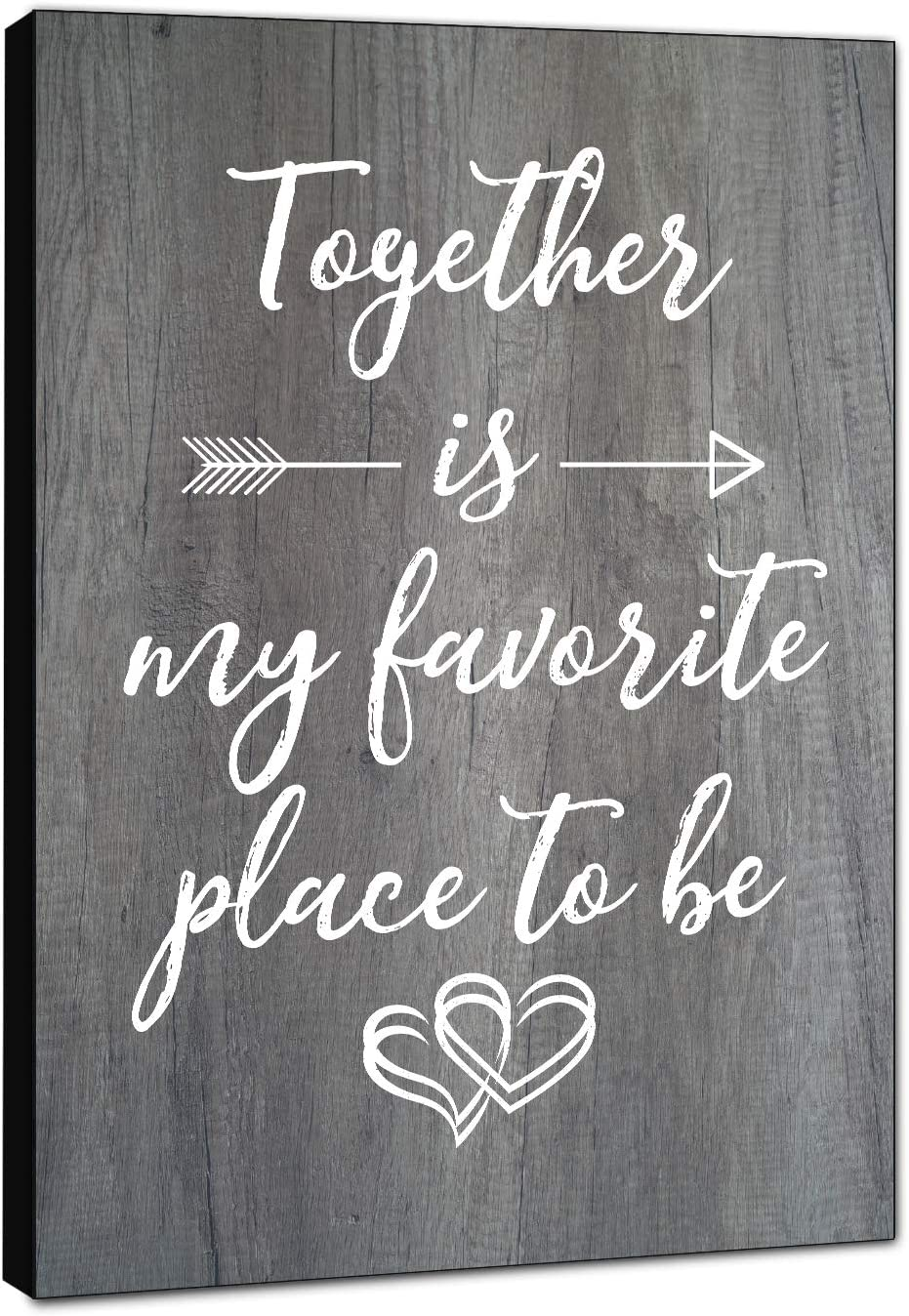 """LACOFFIO Together is My Favorite Place to Be 12""""x18"""" Rustic Wooden Wall Art Decor - Quotes Sign - Housewarming Gift Idea"""