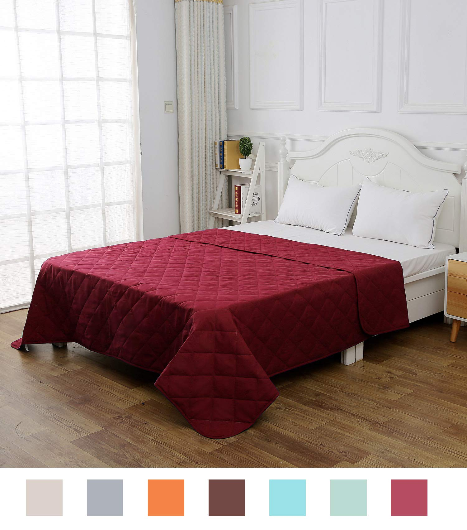 CottonTex Reversible Super Soft Bedspread Mulberry,Twin Size 68x86 inches Diamond Pattern Lightweight Hypoallergenic Microfiber Bed Coverlet Alternative Quilt