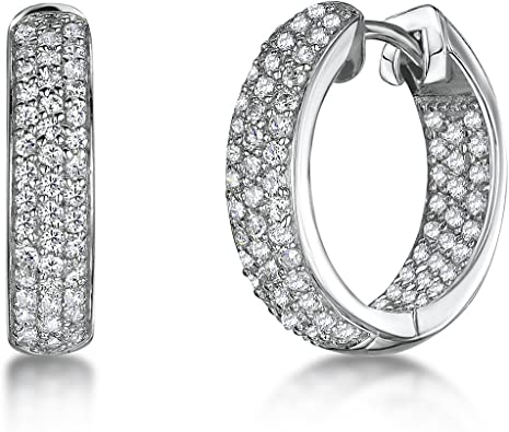 Pave Set Clear Cubic Zirconia Antique Hoop Earrings Rhodium Plated Sterling Silver