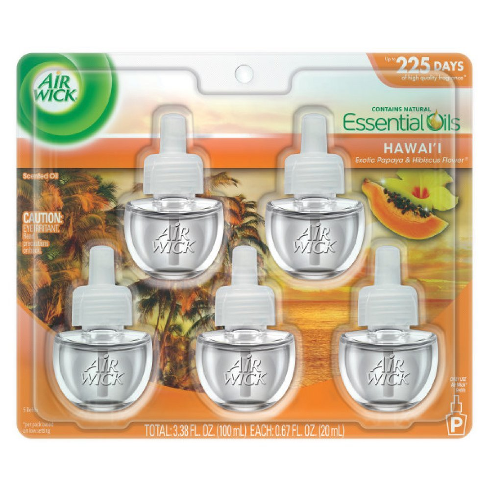 Air Wick Scented Oil Refill, Hawaii Exotic Papaya & Hibiscus Flower, 5 refills (Pack of 2)