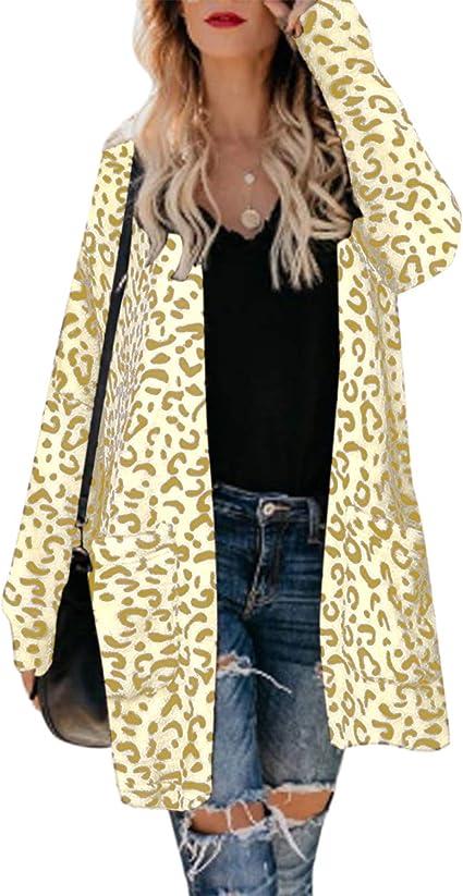 Womens Open Front Leopard Cardigan Pockets Long Sleeve Lightweight Sweater Coat