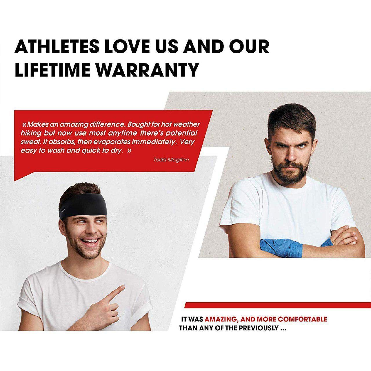Self Pro Mens Headbands 2 Pack Guys Sweatband & Sports Headband for Running, Cross Training, Racquetball, Working Out - Performance Stretch & Moisture Wicking by Self Pro