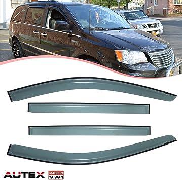 AUTEX 4Pcs Tape On Window Visor Deflector Compatible with Dodge Grand Caravan 2008 2009 2010 2011 2012 2013 2014 2015 2016 2017 Sun Shade
