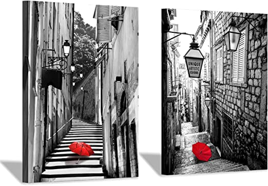 Paris Street Landscape Giant Poster Wall Art Print Black /& White Card Canvas
