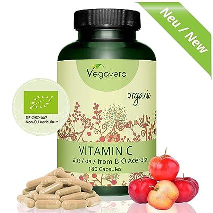 Vitamina C de Acerola Orgánica | Producto BIO | TESTADO EN LABORATORIO | Sistema Inmunológico + Resfriados + Piel + Antioxidante | 180 Cápsulas | Vegavero: ...