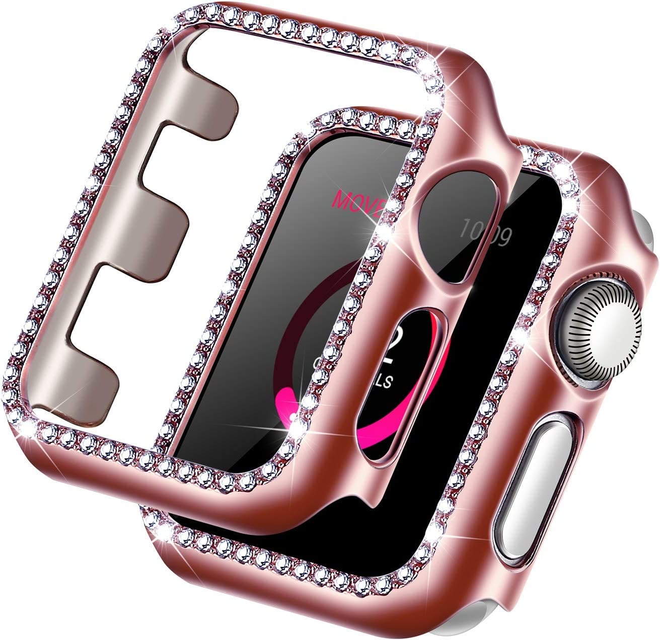 Forbear Compatible with Apple Watch Case 38mm, iWatch Cover with Bling Crystal Diamonds Shiny Rhinestone Bumper, Electroplated PC Protective Frame for Apple Watch Series 3/2/1 (Rose Gold, 38mm)