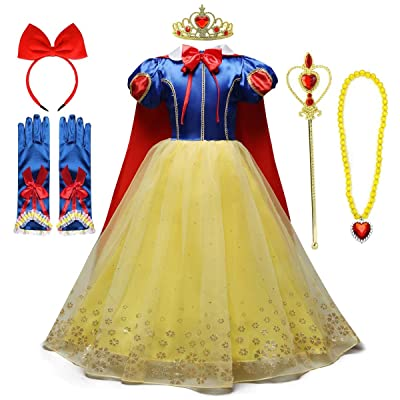 HIHCBF Girls Princess Snow White Costume Birthday Christmas Halloween Carnival Fancy Dress Up w/Cloak (Headband Accessories): Clothing