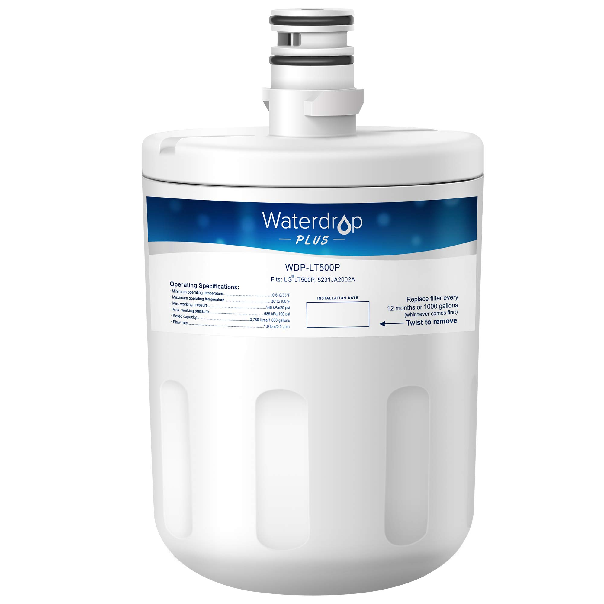 Waterdrop Plus LT500P Double Lifetime Refrigerator Water Filter Replacement for LG LT500P, 5231JA2002A, ADQ72910901, ADQ72910907, Kenmore GEN11042FR-08, 9890, 469890, 46-9890