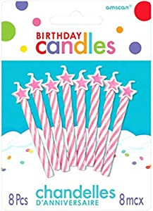 Amscan Spiral Star-Tipped Birthday Candles | Pink | Party Supply | 1 pack (8pcs)
