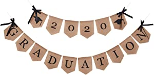2020 Graduation Burla Banner | Rustic Vintage Graduation Decorations | Perfect for Graduation Party Supplies 2020 | Grad Party Decor for Home, College, Senior, High School Prom Decorations (Burla)