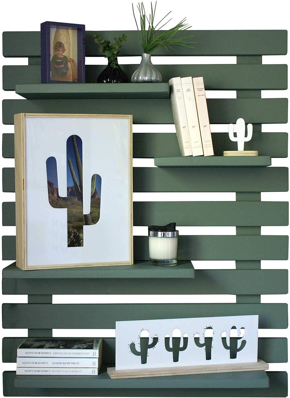 dise/ño floral R - 4 piezas de madera para colgar en la pared SODIAL