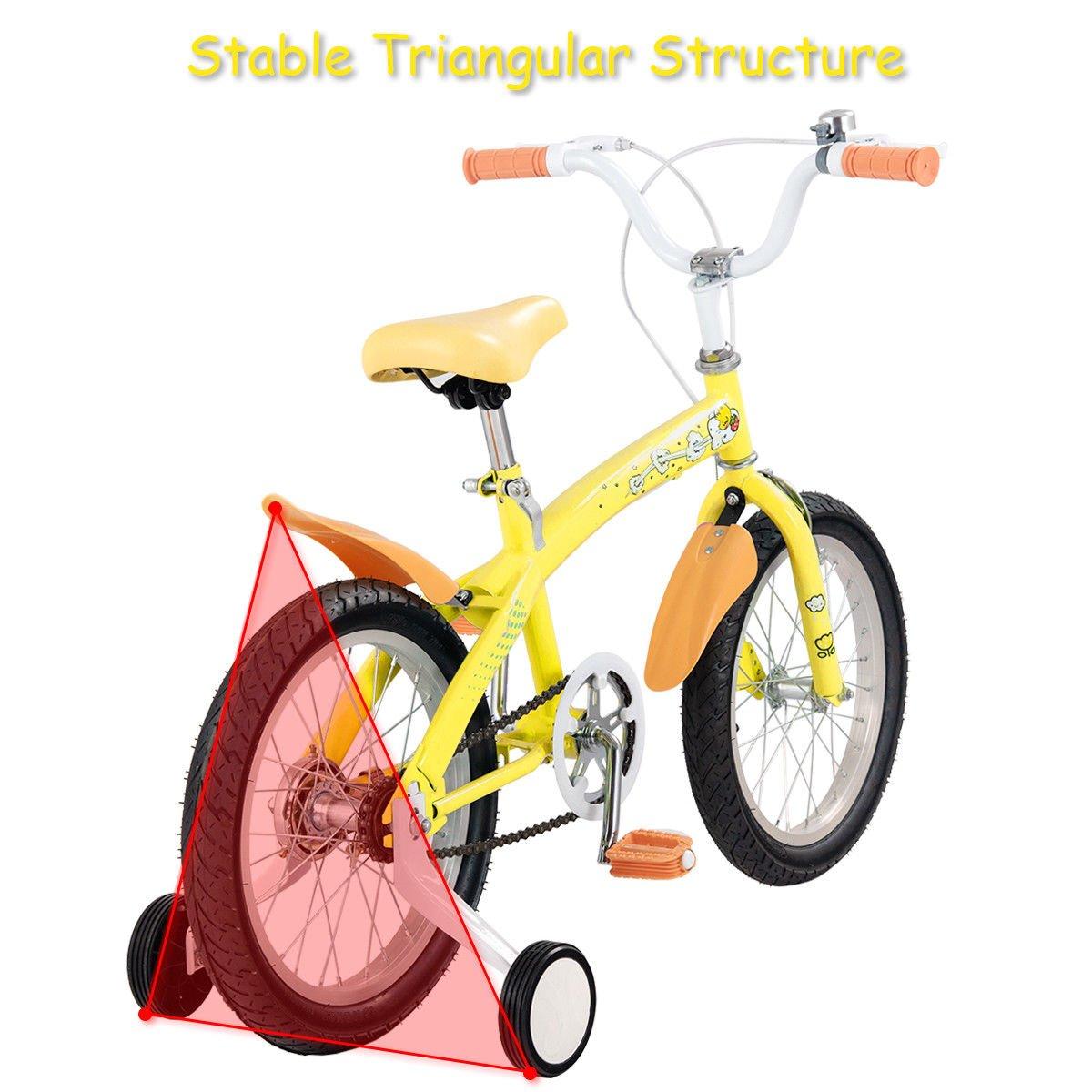 FDInspiration Yellow 45'' x 31.5'' Metal Frame Kids Bike w/Training Wheels with Ebook by FDInspiration (Image #6)