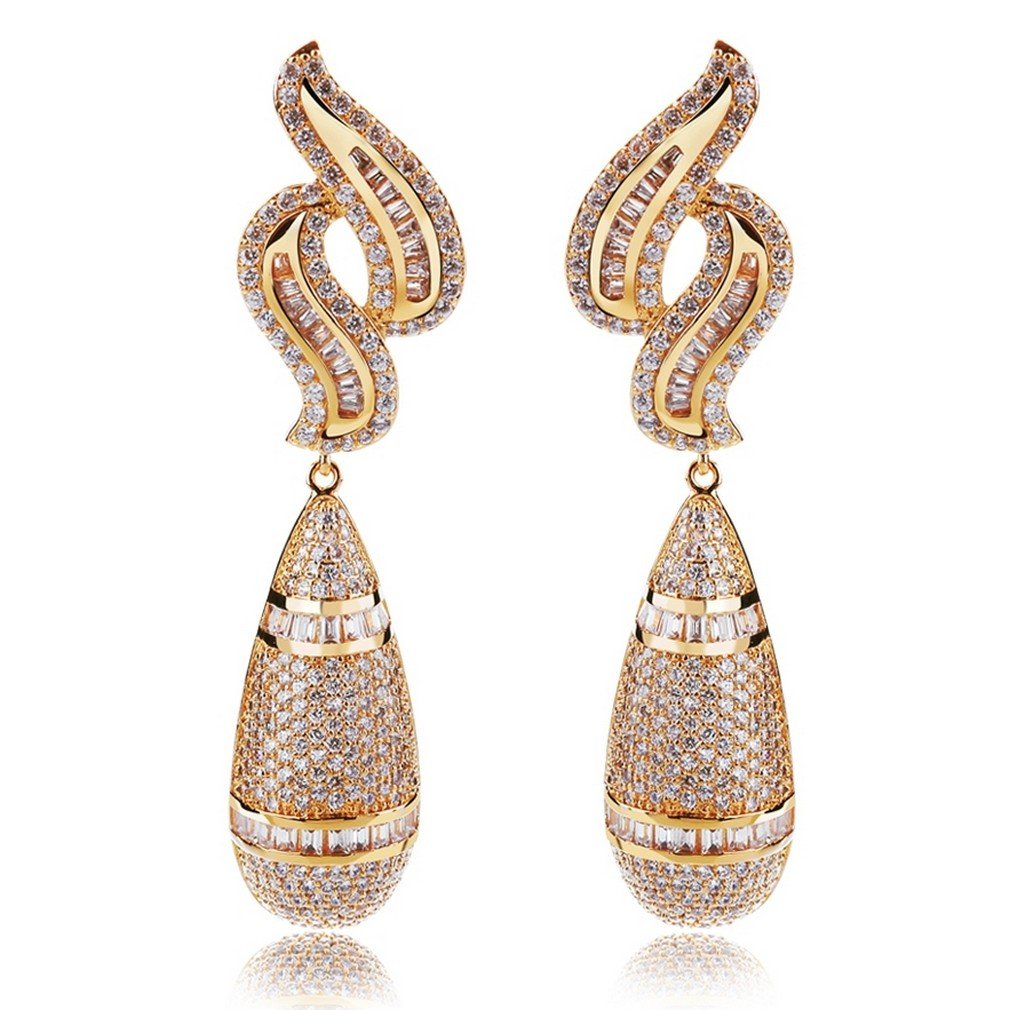 K-Elegant AAA Cubic Zirconia Water drop big Earrings Bridal Wedding earrings