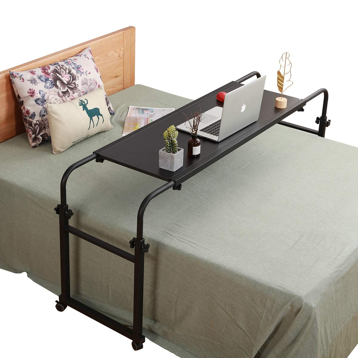 Overbed Table with Wheels Overbed Desk Over Bed Desk King Queen Bed Table Overbed Laptop Table Over Bed Table with Wheels(Black) by TigerDad
