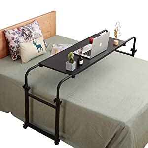 Overbed Table with Wheels Overbed Desk Over Bed Desk King Queen Bed Table Overbed Laptop Table Over Bed Table with Wheels(Black)