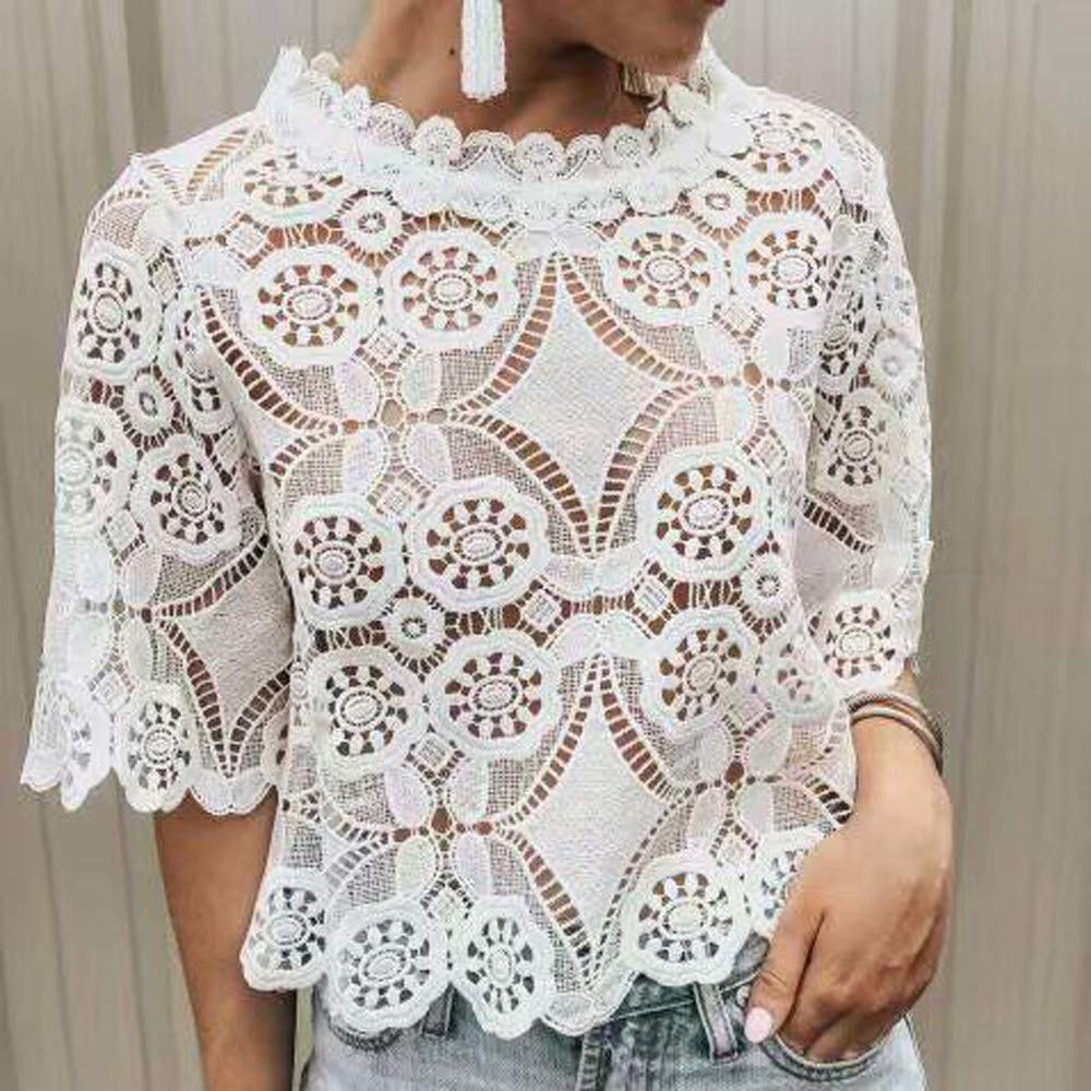 Sanyyanlsy Womens Fashion Lace Ethnic Hollow-Cut Tank Tops Flare Short Sleeve Vest Turtleneck Blouse Shirt T-Shirt