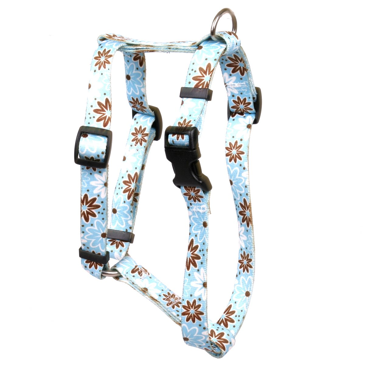 Yellow Dog Design Daisy Chain Blue Roman Style H Dog Harness, Large