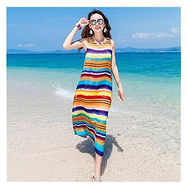 Melissa 2018 New Holiday Beach Chiffon Dress Women Summer Bohemia Long Dresses Casual Large Size Striped