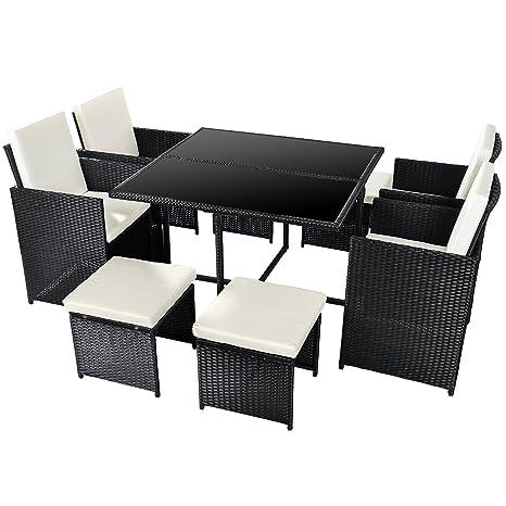 Merax Poly Rattan Lounge Gartenmobel Set Sitzgruppe Klappbare Essgruppe11 9 Pcs 9 Pcs Schwarz