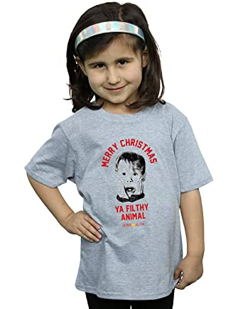 2703c02d Absolute Cult Home Alone Girls Merry Christmas T-Shirt: Amazon.co.uk:  Clothing