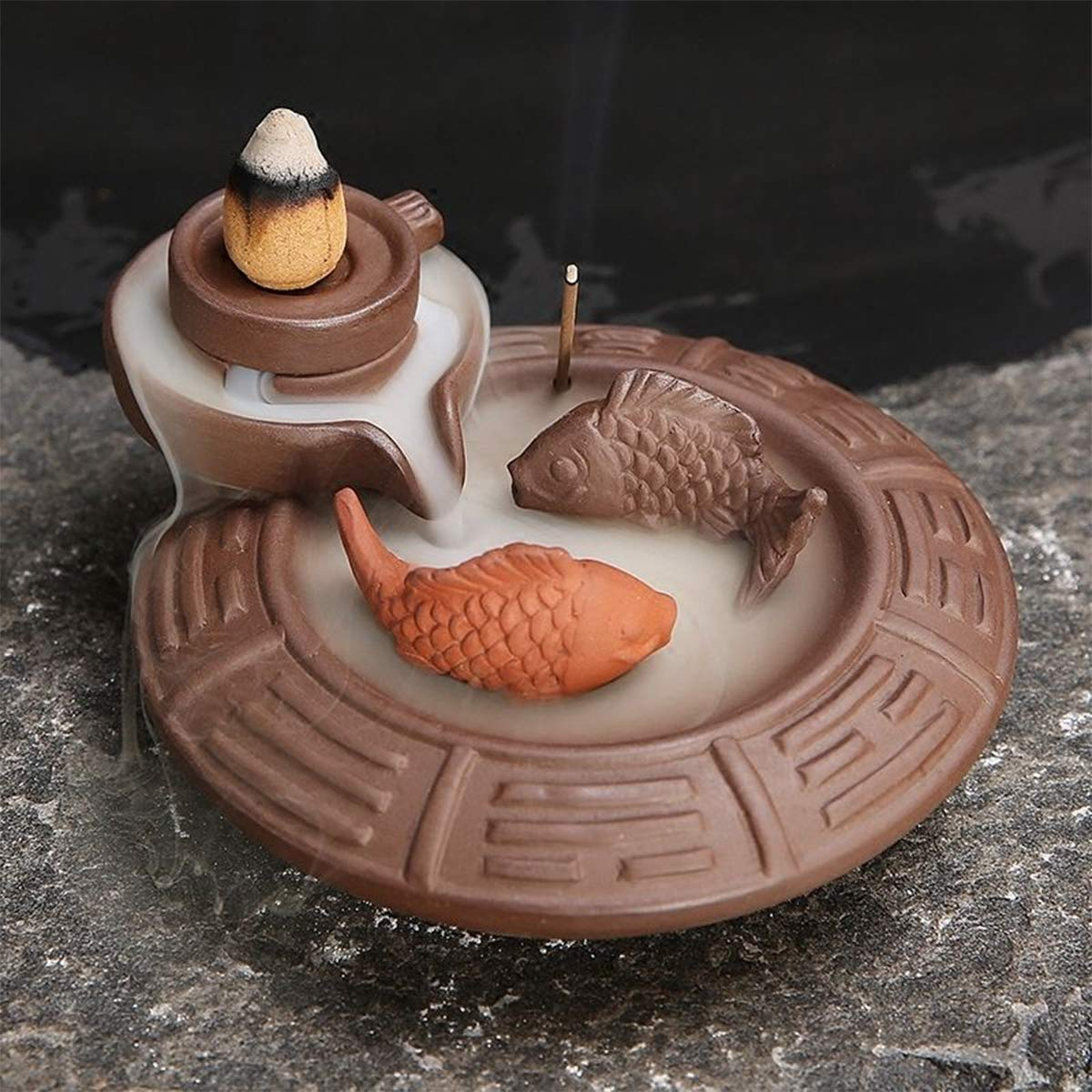 Jeteven Waterfall Backflow Incense Burner Sticks Holder Yoga Room Home Decoration & Handicraft Gift (Ceramic Fish)