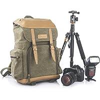 TARION M-02 Kamerarucksack Kameratasche Wasserabweisend aus Canvas Leinenstoff und Echt-Leder (Maße:29x18x42cm) Grün für DSLR & Zubehör