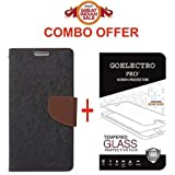 Goelectro Flip Cover, Tempered Glass for Redmi 4