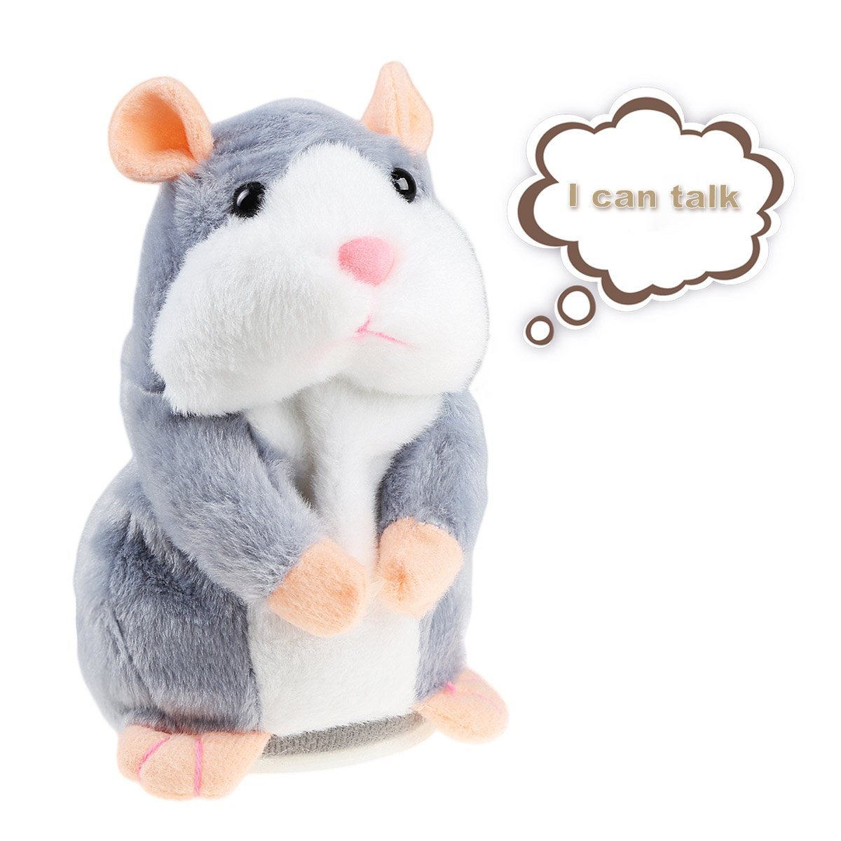 Talking Hamster Plush Toy, Repeat What You Say Funny Kids Stuffed Toys, Talking Record Plush Interactive Toys for Valentines Day, Birthday Gift, Kids Early Learning, Thanksgiving, IDEAPRO