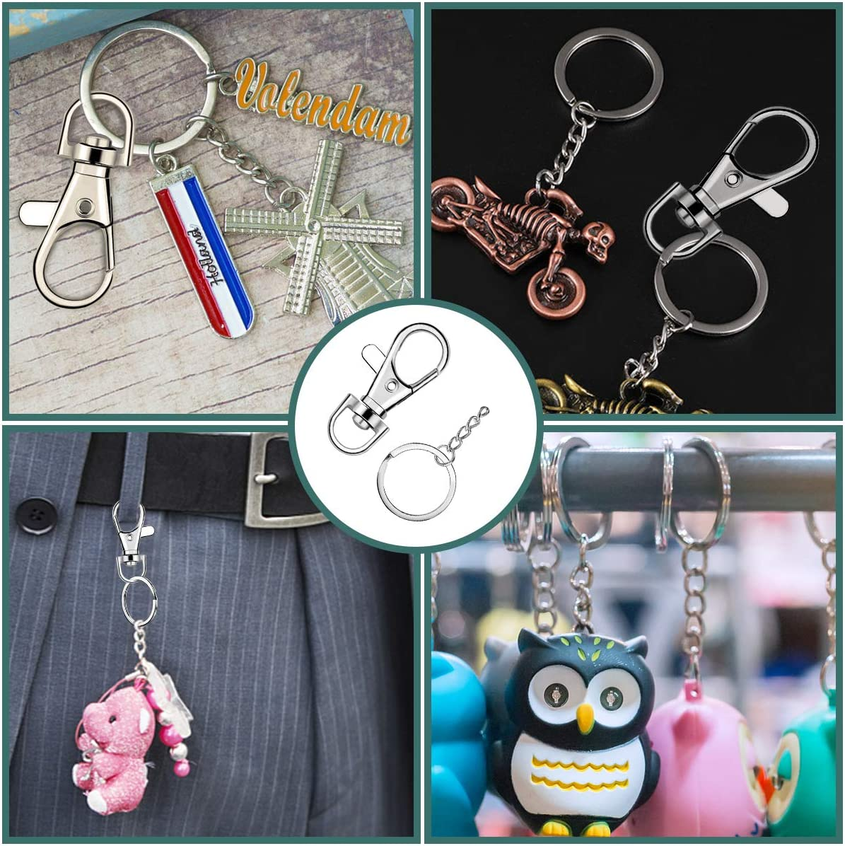 100 Pcs Lanyard Snap Hooks and Key Rings with Chain and Jump Rings for Keychain Lanyard DIY Jewelry Crafts Accessories 50 Pcs Swivel Snap Hooks +50 Pcs Flat Keychain Rings with Jump Rings