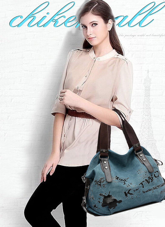Chikencall Femmes sac /à main Casual Vintage Hobo toile sac /à bandouli/ère sac /à main sac /à bandouli/ère quotidien