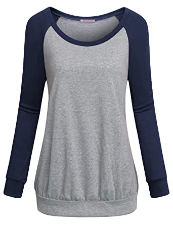 a4d4aec33f2 Amazon.com  BLUETIME Women Casual Round Neck Long Raglan Sleeve ...
