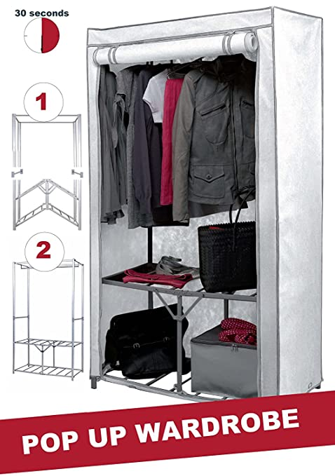 Extra Strong Metal Frame Canvas Wardrobe With Shelf And Shoe Storage In  Cream