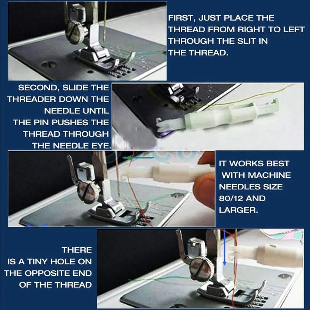 Automatic Needle Threader Universal Sewing Needle Inserter White Practical Sewing Tool Needle Threader for Hand Machine Sewing 1PCS Joykith