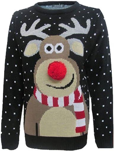 Unisex Boys Girls Christmas Rudolph Pom Pom Nose Novelty Vintage Retro Jumper