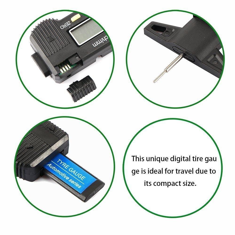 Diagtree portable Digital Tire Tread Depth Gauge depthgaugecalipertreadLCD Tyretread Tread Checker Tire Tester for Cars Trucks Vans SUV, Metric Inch Conversion 0-25.4mm (WITH Battery)