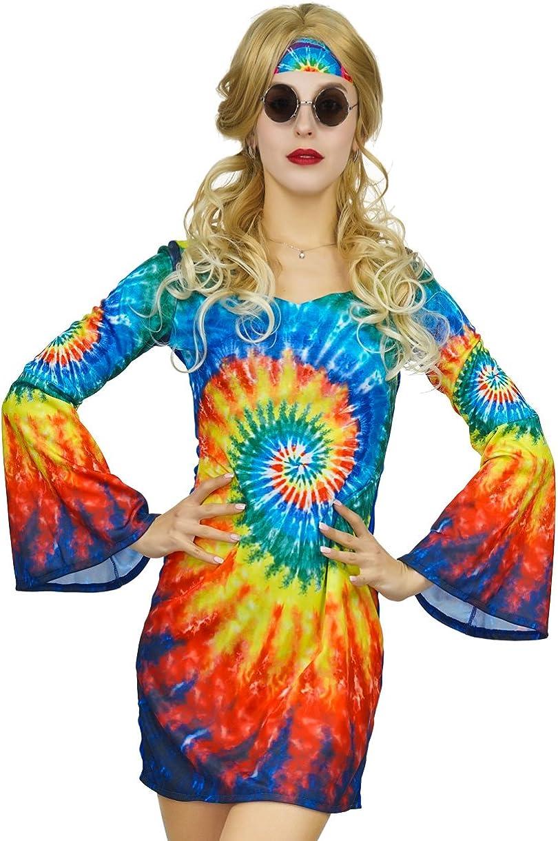 Amazon.com: Flatwhite Shimmy Hippie disfraz de los años 60 y ...