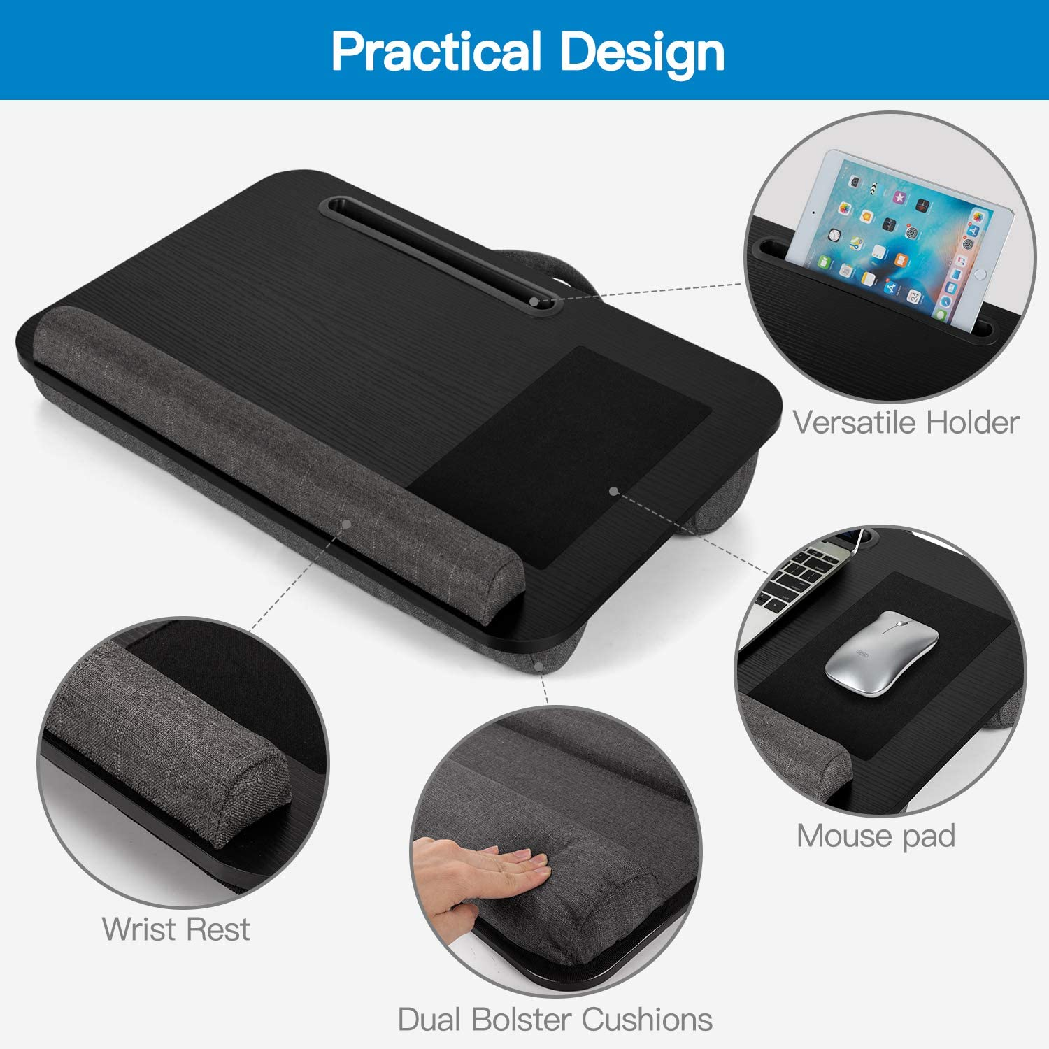 Wrist Rest /& Built-in Mouse Pad AMERIERGO Lap Desk Multifunctional Slot for Tablet Fits Up to 17 Inch Laptop Lap Desk with Dual Cushion Portable Laptop Stand for Sofa /& Bed Pen /& Phone
