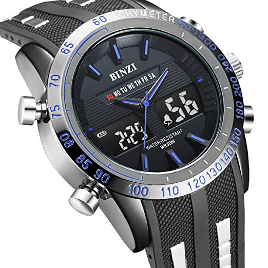 binzi Hombres Negro Sport analógica y digital dual display Reloj de pulsera de cuarzo japonés Militar Tiempo retroiluminación LED Relojes para hombres: ...