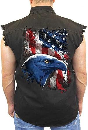 Mens Denim Vest Concealed Carry Patriotic US Veteran Eagle Military Design