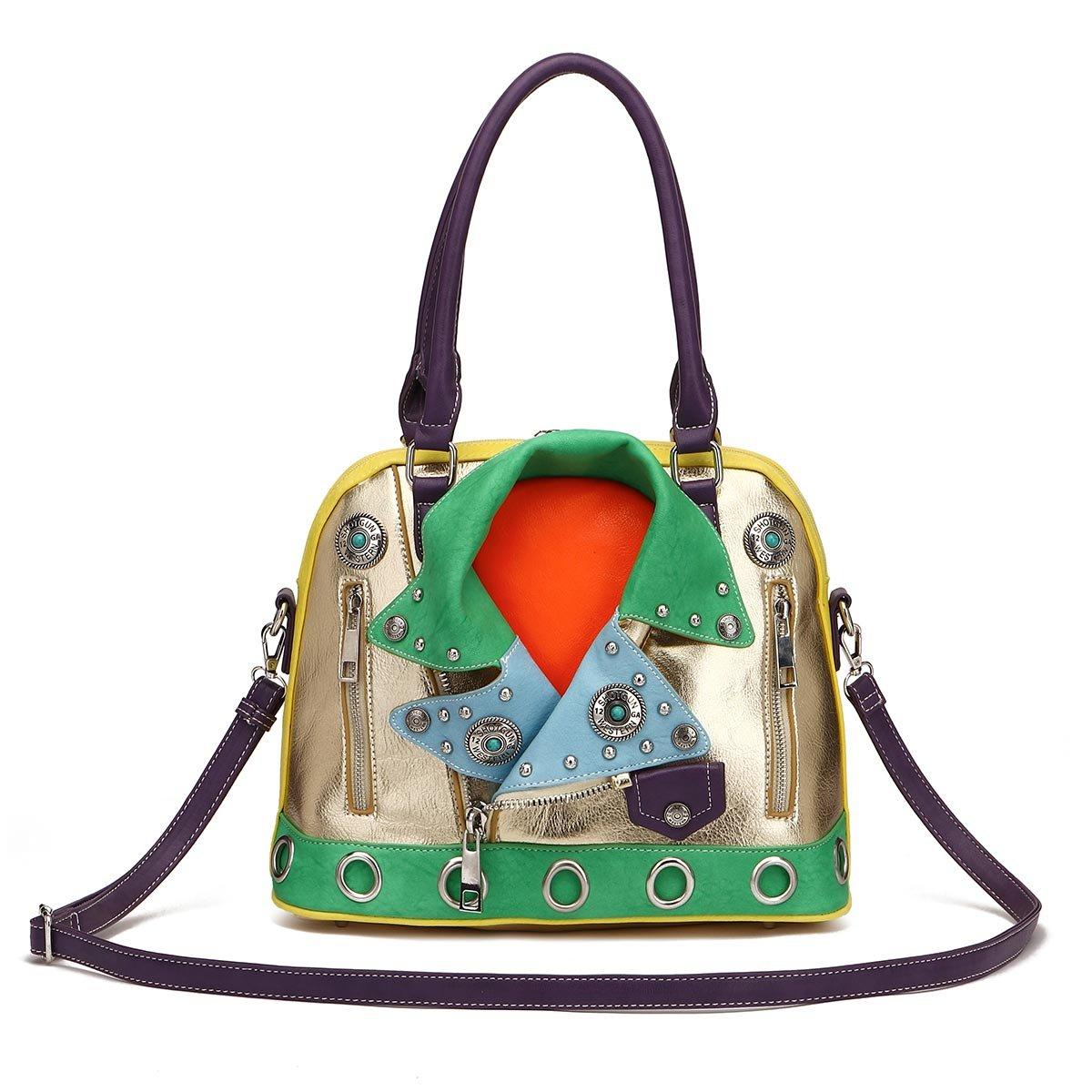 Cowgirl Trendy Motorcycle Biker Handbag Concealed Carry Purse Colorblock Jacket Shoulder Bag by Cowgirl Trendy