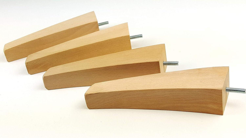 Knightsbrandnu2u 4x sostituzione mobili piedi gambe in legno massiccio–215mm altezza–divani, sedie, poltrone, armadi–M10(10mm)–PKC500Z (RAW)