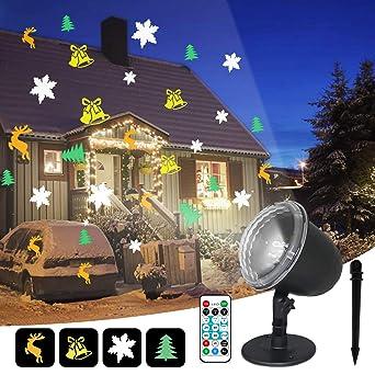 IREGRO Luces de Proyector Navidad LED Luz de Proyección 4 motivos ...
