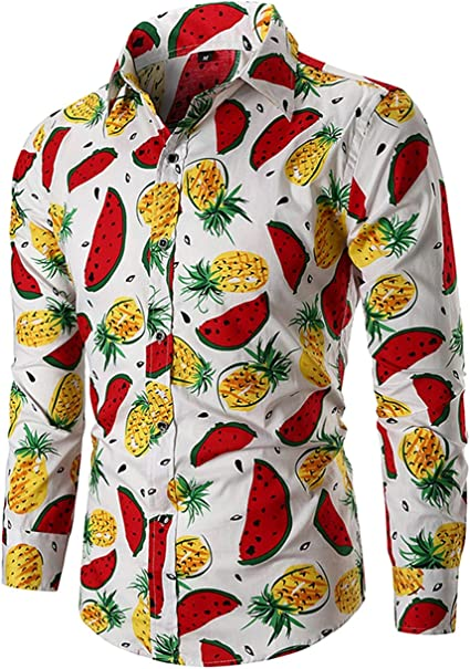 EverNight Camisa de Hombre Moda Casual Clásico Sandía ...