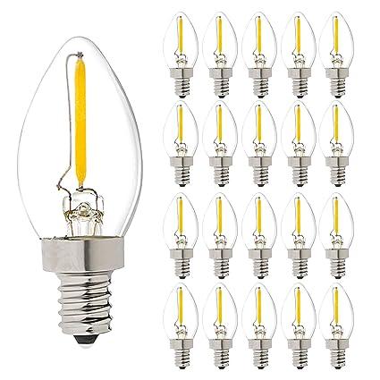 C7 0,5 W luz vela bombillas, 10 W incandescente reemplazos, 75 lúmenes
