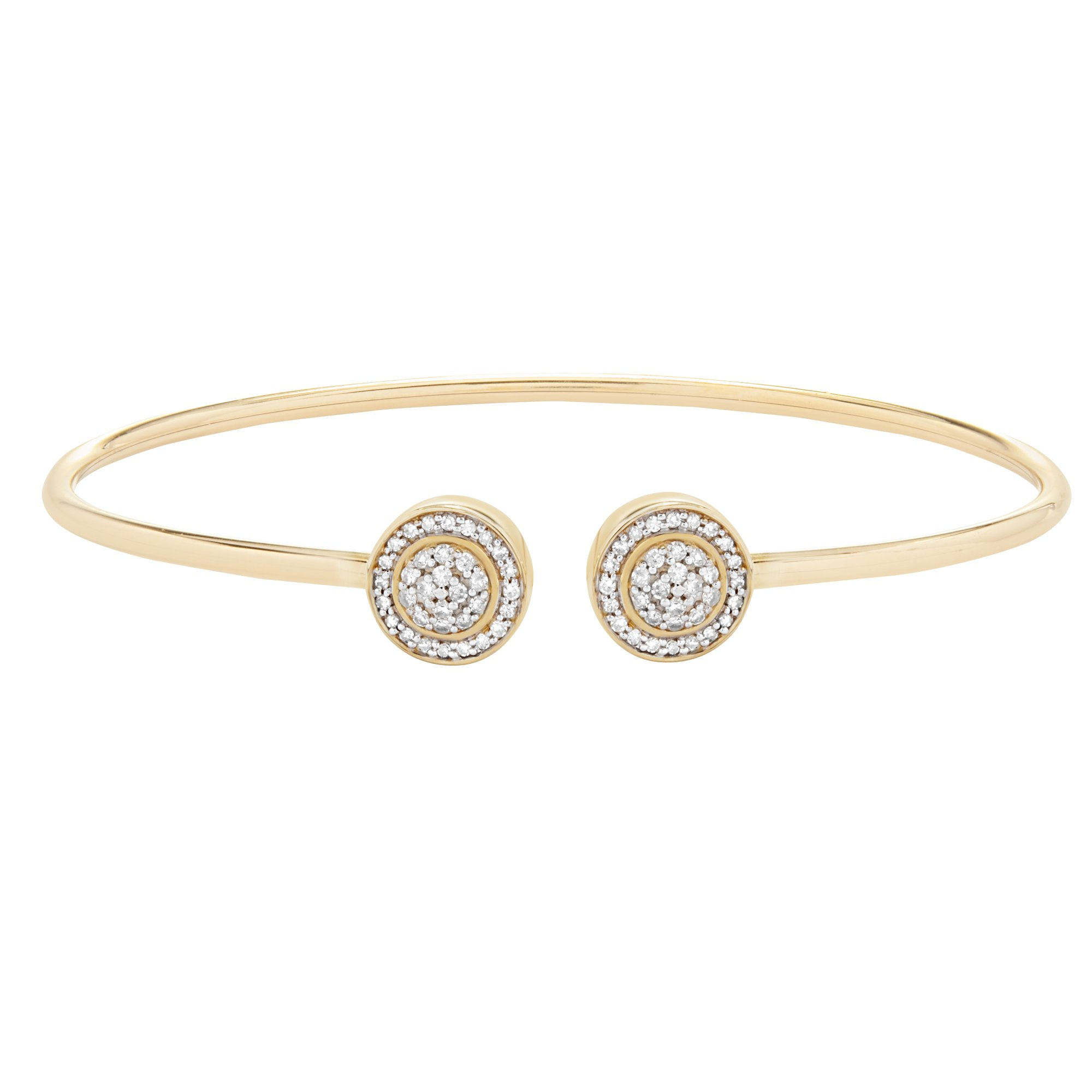 10K Yellow Gold & 1/4 CTTW Diamond (IJ/I2I3) 2 Circle Open Wire Bangle 6.5''