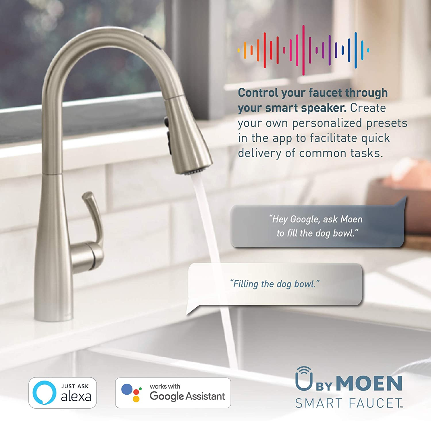 Oil Rubbed Bronze Moen 7594EVORB Arbor UbyMoen Smart Pulldown Kitchen Faucet with Voice Control and MotionSense
