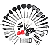 NEXGADGET Premium Cooking Utensils Set 42-Piece Stainless Steel and Nylon Kitchen Utensil Set Cooking Tools & Gadgets Including Fork Can Opener Tong Spatulas Grater Kitchen Scissor Ladle Turner Spoon Cup Peeler Masher Whisk and more, Christmas Gift