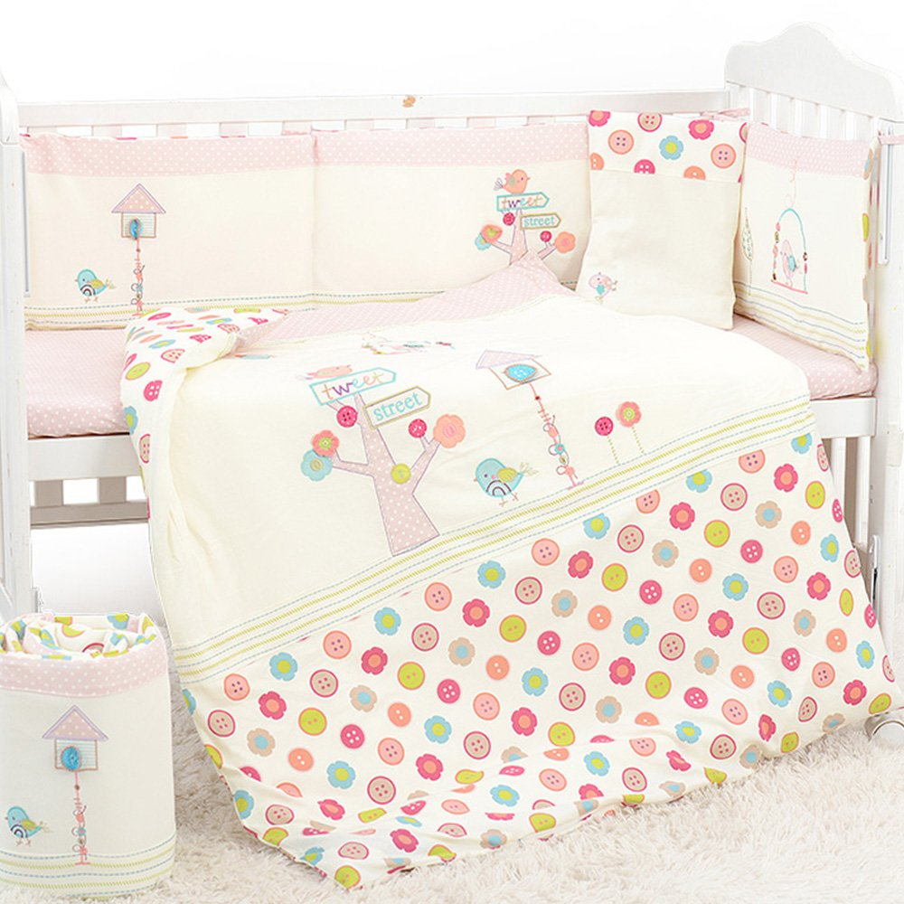 Dile Girls Baby Bedding 9 Piece Crib Set (XL, pink)