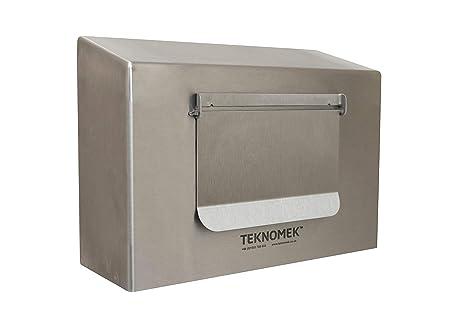 Robusto dispensador de caja de guantes montado en la pared con solapa, acero inoxidable |